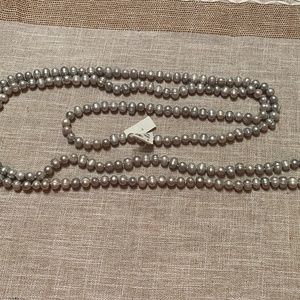 """Gray Silver cultured pearl necklace 9-10mm  80"""""""